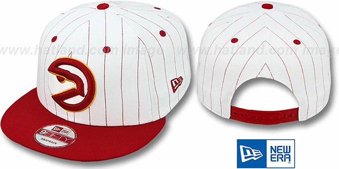 Hawks 'PINSTRIPE BITD SNAPBACK' White-Red Hat by New Era : pictured without stickers that these products are shipped with