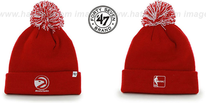 Hawks 'POMPOM CUFF' Red Knit Beanie Hat by Twins 47 Brand : pictured without stickers that these products are shipped with