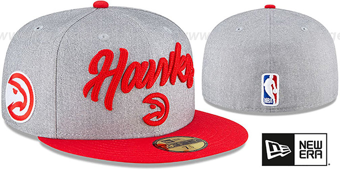 Hawks 'ROPE STITCH DRAFT' Grey-Red Fitted Hat by New Era