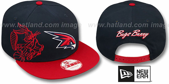 Hawks 'SIDE-TEAM' BUGS BUNNY SNAPBACK Hat by New Era : pictured without stickers that these products are shipped with