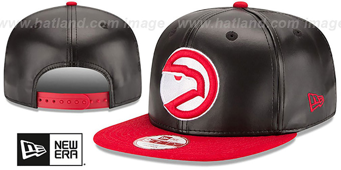 Hawks 'SMOOTHLY STATED SNAPBACK' Black-Red Hat by New Era : pictured without stickers that these products are shipped with