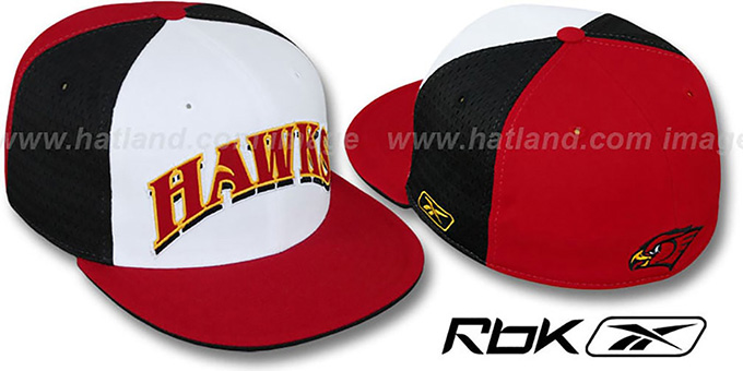 Hawks 'SWINGMAN' White-Black-Red Fitted Hat by Reebok : pictured without stickers that these products are shipped with