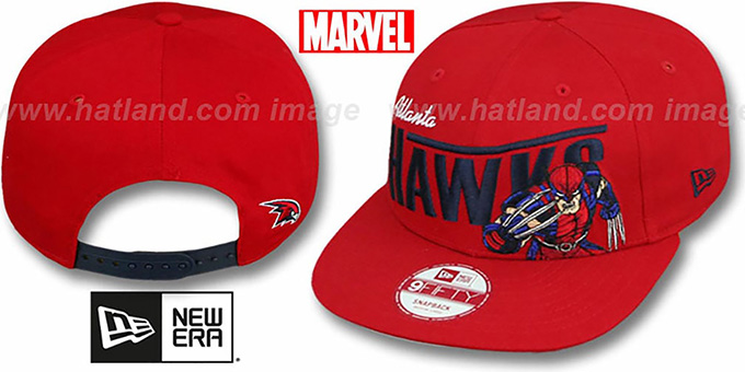 Hawks 'TEAM-HERO SNAPBACK' Red Hat by New Era : pictured without stickers that these products are shipped with