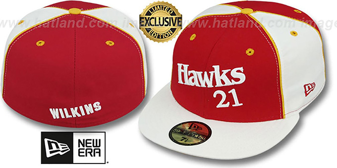 Hawks WILKINS 'TEAM-UP' Red-White Fitted Hat by New Era : pictured without stickers that these products are shipped with