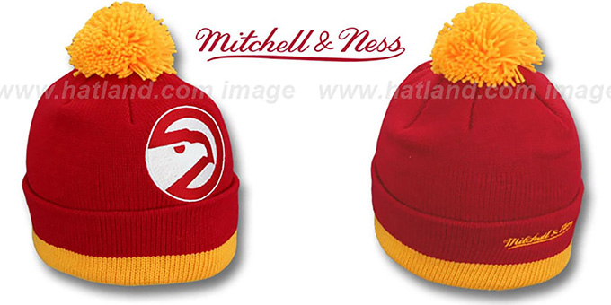 Hawks 'XL-LOGO BEANIE' Red by Mitchell and Ness : pictured without stickers that these products are shipped with