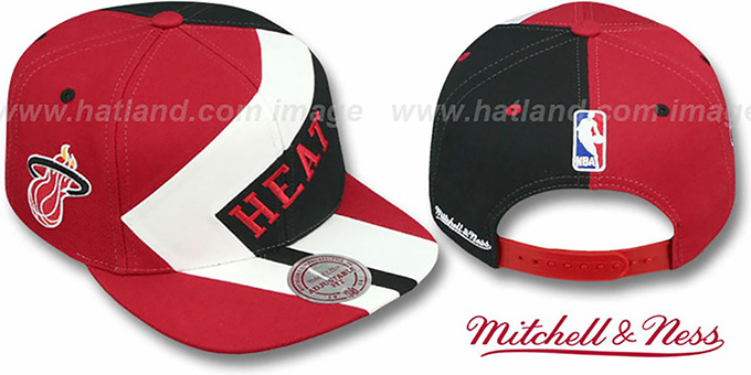 Heat '1-ON-1 SNAPBACK' Red-White-Black Hat by Mitchell & Ness : pictured without stickers that these products are shipped with