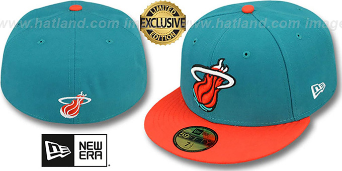 Heat '2T OPPOSITE-TEAM' Aqua-Orange Fitted Hat by New Era : pictured without stickers that these products are shipped with