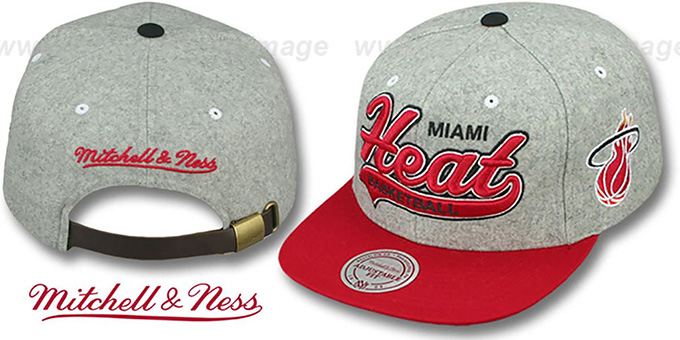Heat '2T TAILSWEEPER STRAPBACK' Grey-Red Hat by Mitchell & Ness : pictured without stickers that these products are shipped with
