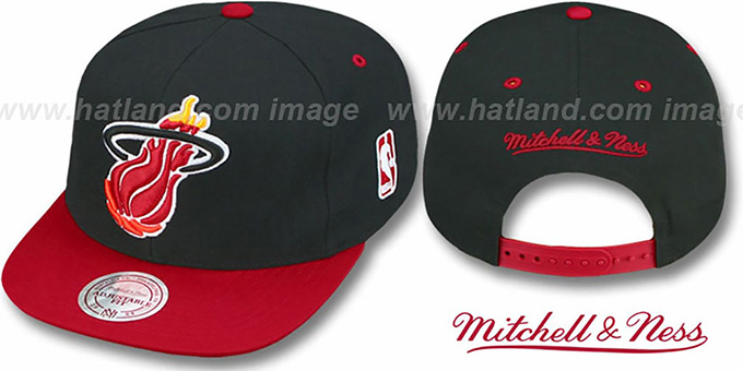 Heat '2T XL-LOGO SNAPBACK' Black-Red Adjustable Hat by Mitchell & Ness : pictured without stickers that these products are shipped with