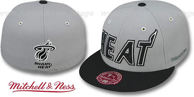 Heat '2T XL-WORDMARK' Grey-Black Fitted Hat by Mitchell & Ness : pictured without stickers that these products are shipped with