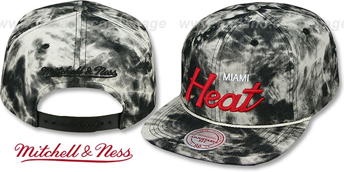 Heat 'ACID-WASH SNAPBACK' Black Hat by Mitchell and Ness : pictured without stickers that these products are shipped with