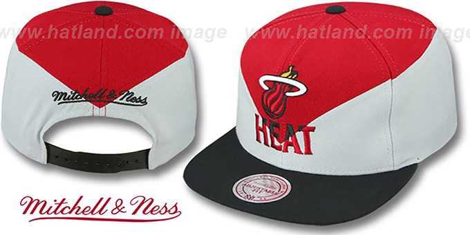 Heat 'AMPLIFY DIAMOND SNAPBACK' Red-Grey Hat by Mitchell and Ness : pictured without stickers that these products are shipped with