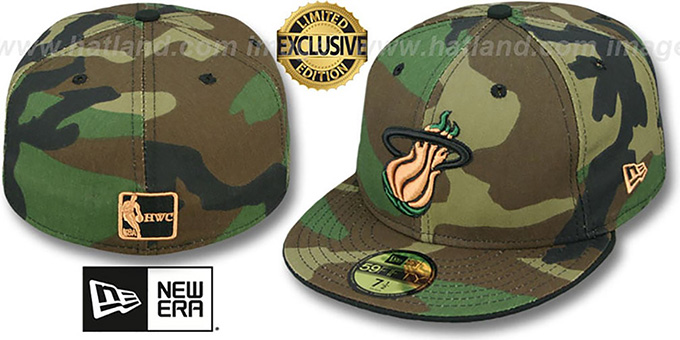 Heat 'ARMY CAMO' Fitted Hat by New Era : pictured without stickers that these products are shipped with