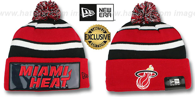 Heat 'BIG-SCREEN' Red-Black Knit Beanie Hat by New Era : pictured without stickers that these products are shipped with