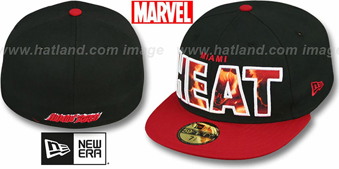 Heat 'BIG WORD ACTION' Black-Red Fitted Hat by New Era : pictured without stickers that these products are shipped with