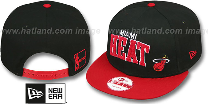 Heat 'CHENILLE-ARCH SNAPBACK' Black-Red Hat by New Era : pictured without stickers that these products are shipped with
