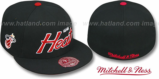 Heat 'CLASSIC-SCRIPT' Black Fitted Hat by Mitchell & Ness : pictured without stickers that these products are shipped with