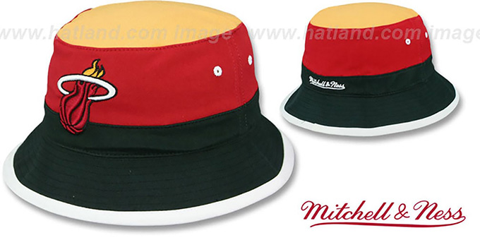 Heat 'COLOR-BLOCK BUCKET' Gold-Red-Black Hat by Mitchell and Ness : pictured without stickers that these products are shipped with