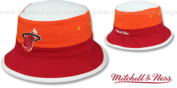 Heat 'COLOR-BLOCK BUCKET' White-Orange-Red Hat by Mitchell and Ness : pictured without stickers that these products are shipped with