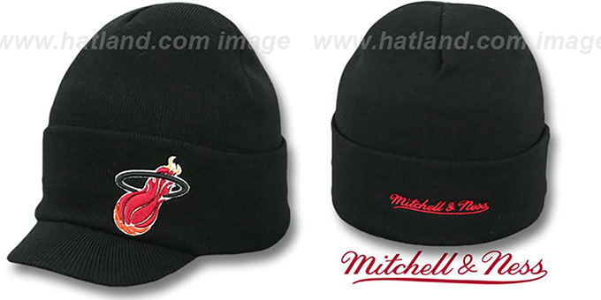Heat 'CUFFED-VISOR KNIT BEANIE' Black Hat by Mitchell and Ness : pictured without stickers that these products are shipped with