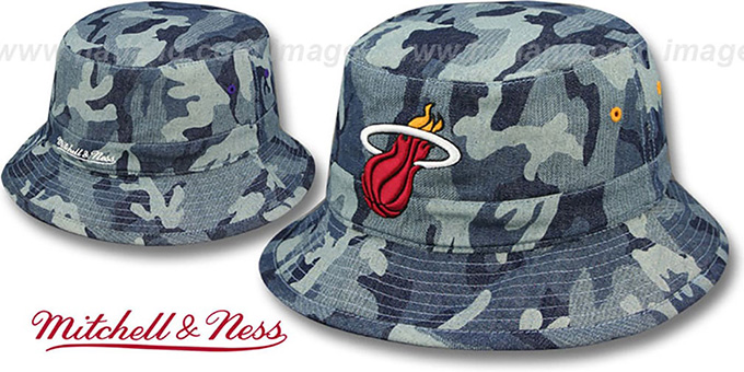 Heat 'DENIM-CAMO BUCKET' Blue Hat by Mitchell and Ness : pictured without stickers that these products are shipped with
