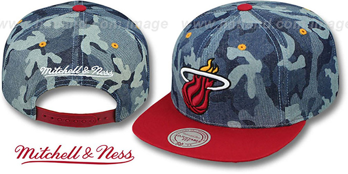 Heat 'DENIM-CAMO SNAPBACK' Blue Hat by Mitchell and Ness : pictured without stickers that these products are shipped with