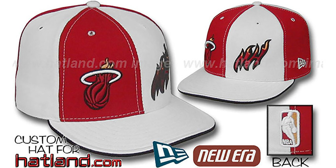 Heat 'DOUBLE WHAMMY' Red-White Fitted Hat : pictured without stickers that these products are shipped with