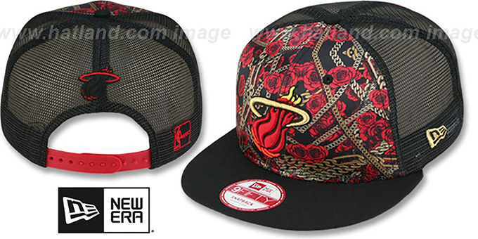 Heat 'FLORAL CHAIN SNAPBACK' Hat by New Era : pictured without stickers that these products are shipped with