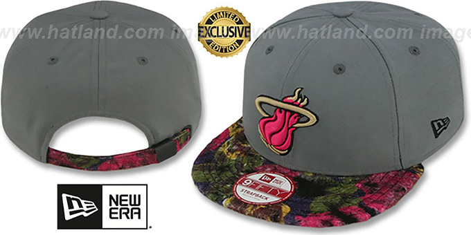 Heat 'FLORAL-FUR STRAPBACK' Grey-Pink Hat by New Era : pictured without stickers that these products are shipped with