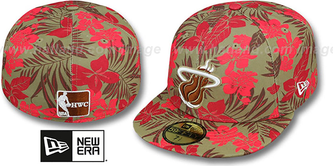 Heat 'FLORICAL' Khaki Fitted Hat by New Era : pictured without stickers that these products are shipped with