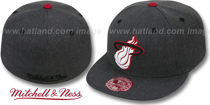 Heat 'GREY HEDGEHOG' Fitted Hat by Mitchell & Ness : pictured without stickers that these products are shipped with
