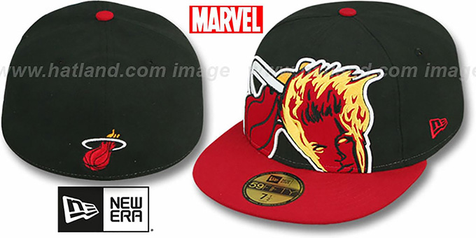 Heat 'HERO-HCL' Black-Red Fitted Hat by New Era : pictured without stickers that these products are shipped with