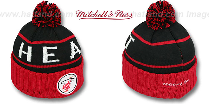 Heat 'HIGH-5 CIRCLE BEANIE' Black-Red by Mitchell and Ness : pictured without stickers that these products are shipped with