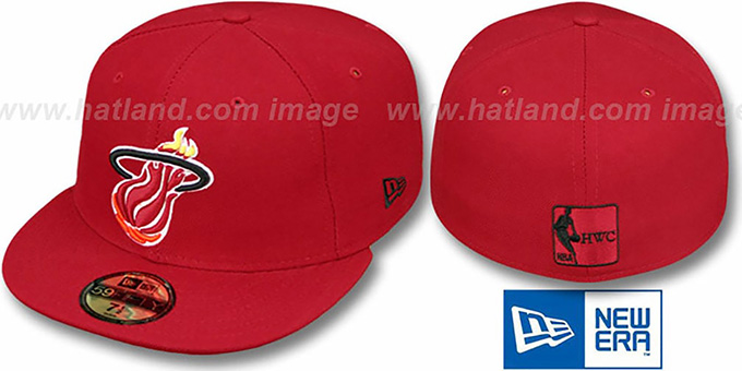 Heat HW 'TEAM-BASIC' Red Fitted Hat by New Era : pictured without stickers that these products are shipped with