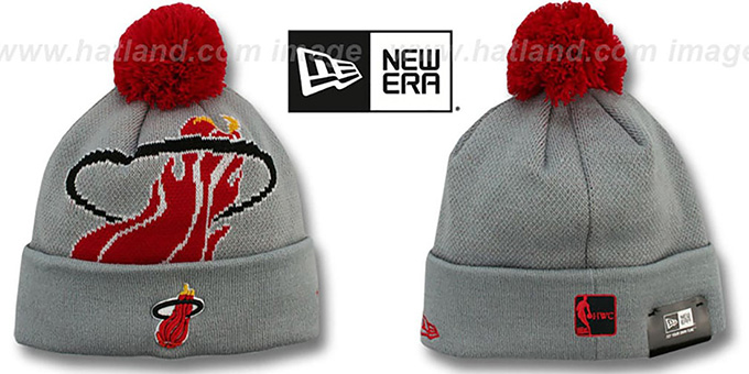 Heat 'HWC-BIGGIE' Grey Knit Beanie Hat by New Era : pictured without stickers that these products are shipped with