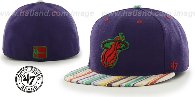 Heat 'HWC BODHI' Purple Fitted Hat by 47 Brand : pictured without stickers that these products are shipped with