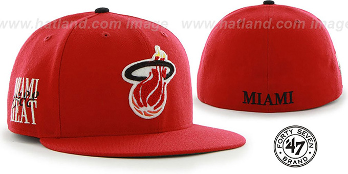 Heat 'HWC CATERPILLAR' Red Fitted Hat by 47 Brand : pictured without stickers that these products are shipped with