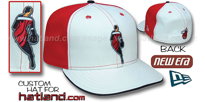 Heat 'INSIDER PINWHEEL' White-Red Fitted Hat by New Era : pictured without stickers that these products are shipped with