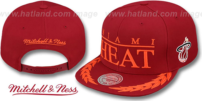 Heat 'LAUREL SNAPBACK' Burgundy Hat by Mitchell and Ness : pictured without stickers that these products are shipped with