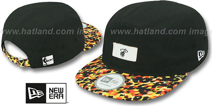 Heat 'LEOPARD CAMPER STRAPBACK' Black Hat by New Era : pictured without stickers that these products are shipped with