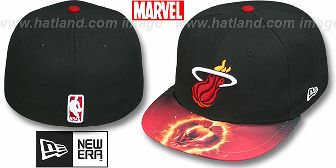 Heat 'MARVEL-X-NBA' CHARACTER Black Fitted Hat by New Era : pictured without stickers that these products are shipped with