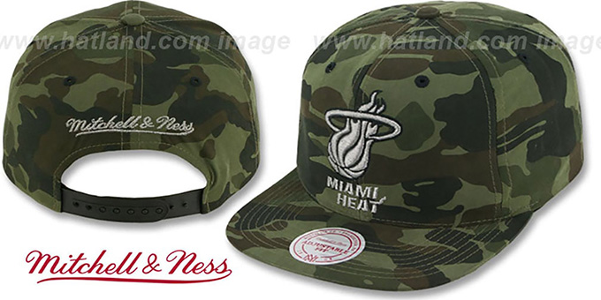 Heat 'METAL-CAMO SNAPBACK' Hat by Mitchell & Ness : pictured without stickers that these products are shipped with