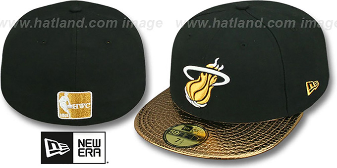 Miami Heat METALLIC SLITHER Black-Gold Fitted Hat by New Era 79ba7edb8