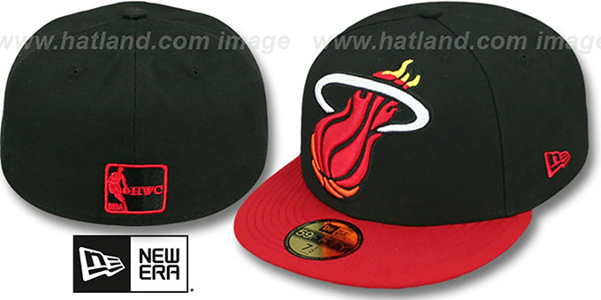 Heat 'MIGHTY-XL' Black-Red Fitted Hat by New Era : pictured without stickers that these products are shipped with