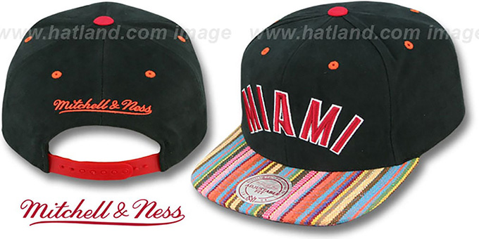 Heat 'NATIVE-STRIPE SNAPBACK' Black Hat by Mitchell & Ness : pictured without stickers that these products are shipped with