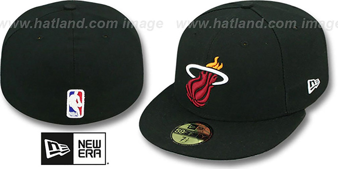 Heat 'NBA-CHASE' Black Fitted Hat by New Era : pictured without stickers that these products are shipped with