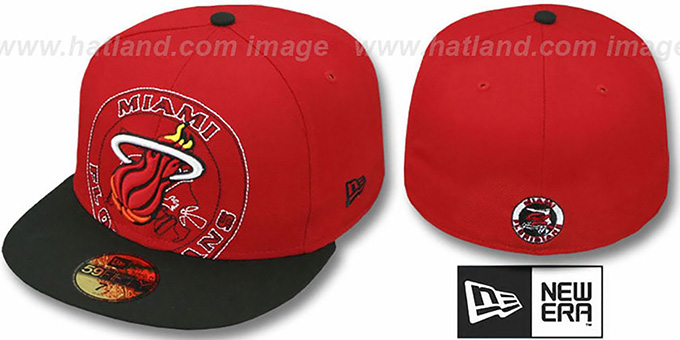 Heat 'NEW MIXIN' Red-Black Fitted Hat by New Era : pictured without stickers that these products are shipped with