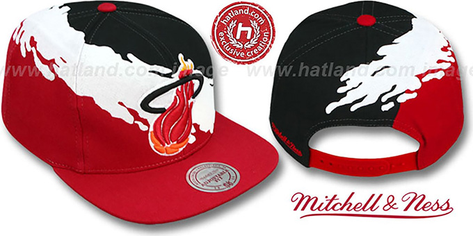 Heat 'PAINTBRUSH SNAPBACK' Black-White-Red Hat by Mitchell & Ness : pictured without stickers that these products are shipped with