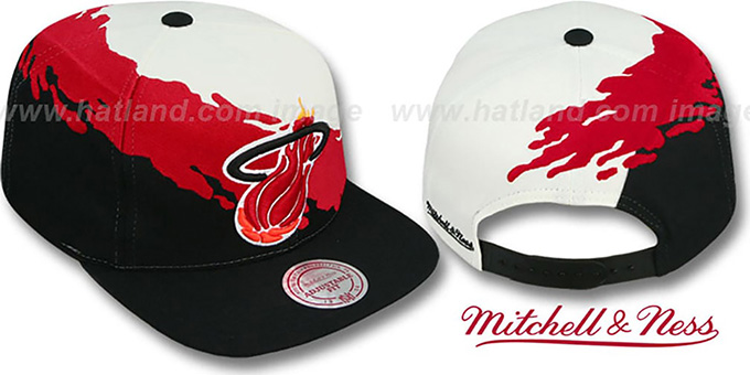 69618e8af1e Miami Heat PAINTBRUSH SNAPBACK White-Red-Black Hat by Mitchell