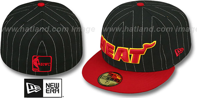 Heat 'PIN-SCRIPT' Black-Red Fitted Hat by New Era : pictured without stickers that these products are shipped with
